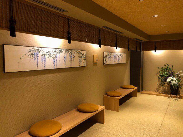 Seating area in Onyado Nono with tatmi flooring and mood lighting