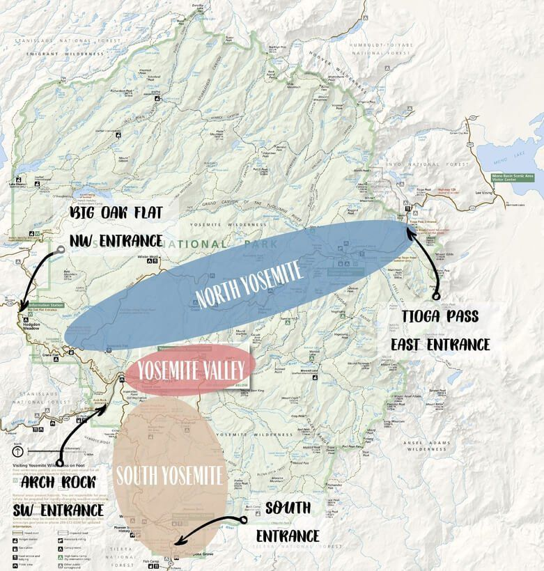 Yosemite National Park map North Valley and South regions with 4 main entrances to the park arch rock big oak flat Tioga Pass and south