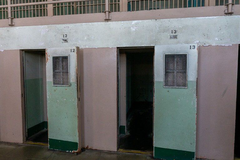 Cell block D at Alcatraz prison doors open