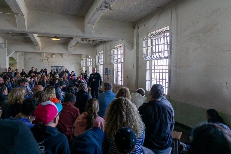 Awesome ranger talk about escape attempts on the Alcatraz tour inside the dining room