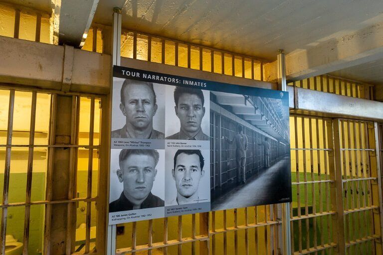 Infamous inmates at Alcatraz prison with audio guides featuring former prisoners