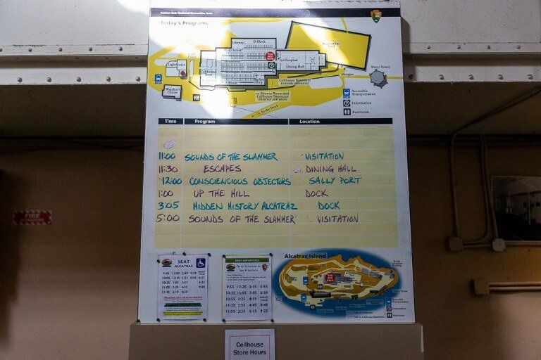 Alcatraz tour special talks board such as slammer and escape attempts