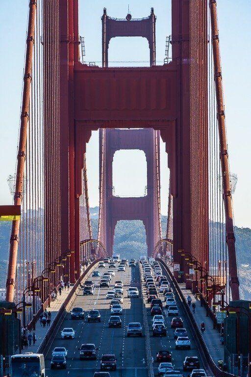 Zoomed in photo of traffic crossing golden gate bridge San Francisco best view of bridge