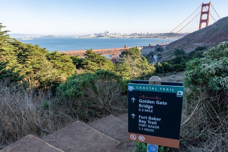 Sign showing how to get to golden gate bridge along public footpath
