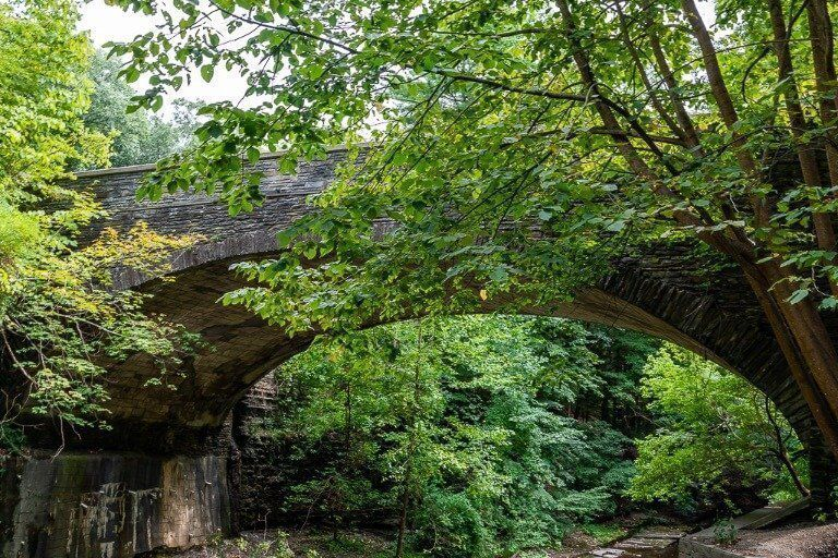 Bridge marking the turnaround point to access gorge trail from rim trail at buttermilk falls state park Ithaca ny