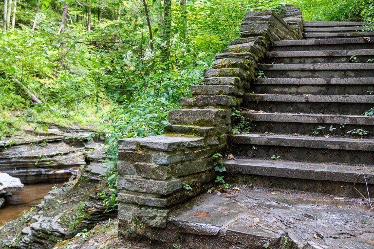 Stone staircase next to gorge in Ithaca ny