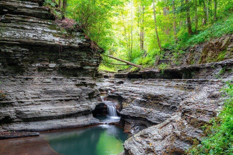Stunning gorge and waterfalls on gorge trail at Buttermilk Falls State Park Ithaca NY