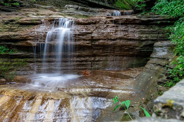 Wispy waterfall in a gorge near Ithaca ny