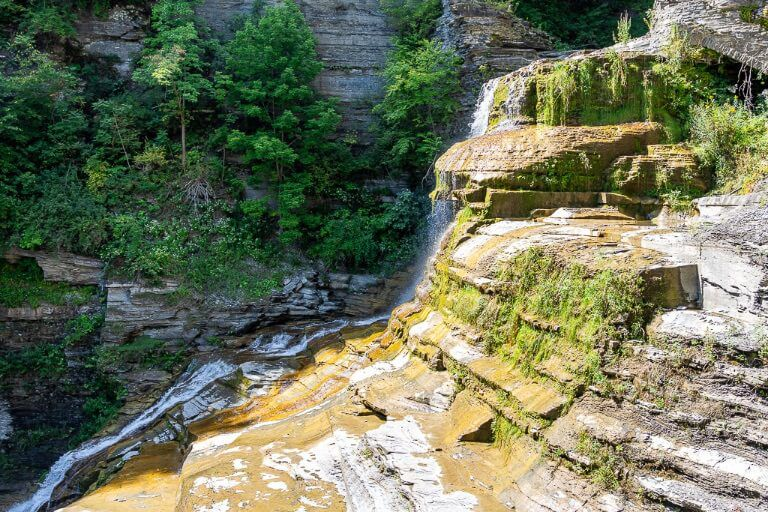 Lucifer Falls from gorge trail t Robert H treman state park Ithaca ny side view at midday