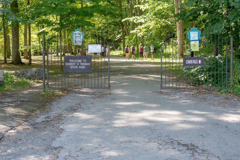 Main entrance to Robert H Treman state park swimming and picnic area Ithaca ny finger lakes