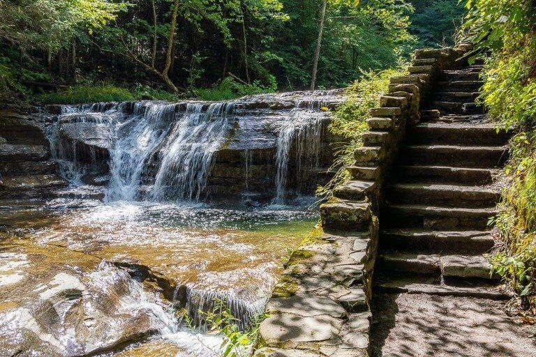 Waterfall and stone staircase at Robert H Treman gorge trail Ithaca NY