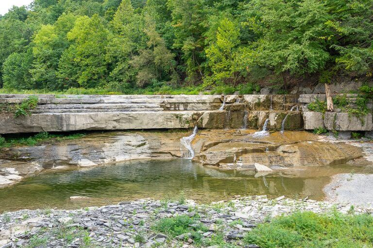 Small shelf like waterfall running dry near entrance to Ithaca state park finger lakes
