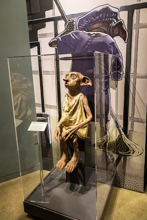 Dobby the house elf model in exhibit at movie studio tour in Los Angeles
