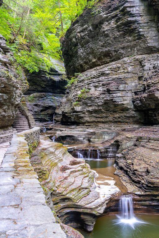Spectacular scenery inside Watkins Glen gorge trail hike waterfalls eroded sedimentary rocks