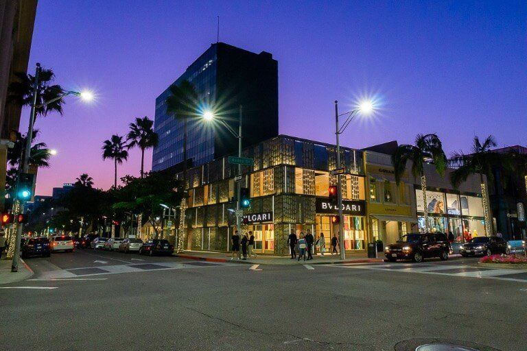 Beverly Hills Rodeo Drive at dusk with stunning pink and blue hue in sky