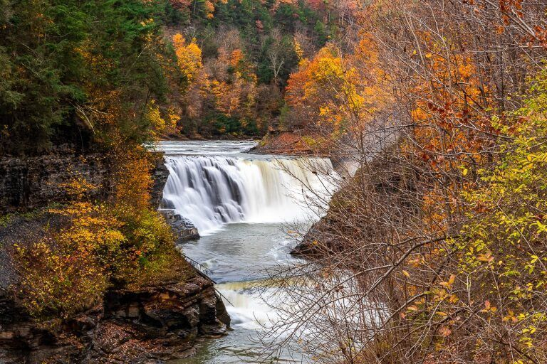 Letchworth State Park Lower Falls in Fall foliage stunning scene NY