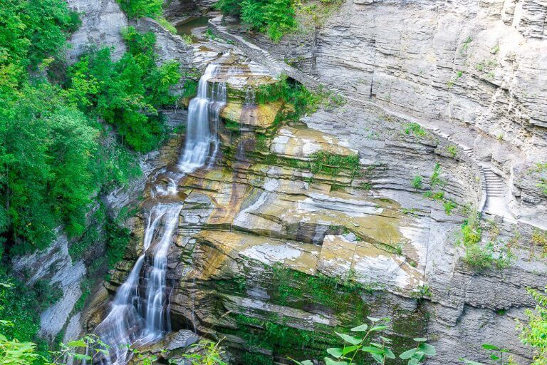 Lucifer Falls at Robert H Treman State Park near Ithaca NY overlook from Rim trail perspective