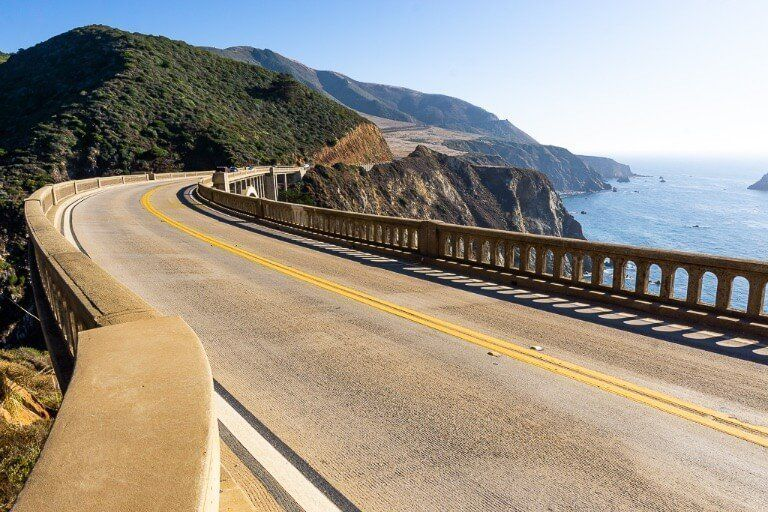 Bixby bridge curving over headlands close to Big Sur in California on the Pacific Coast highway 1