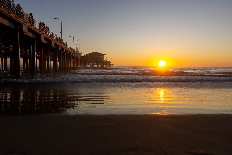 Best things to do in Los Angeles walk along the beach at Santa Monica and watch the sunset