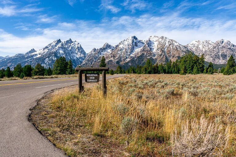 Grand Teton mountain range from a lookout on loop 2 day road road trip itinerary
