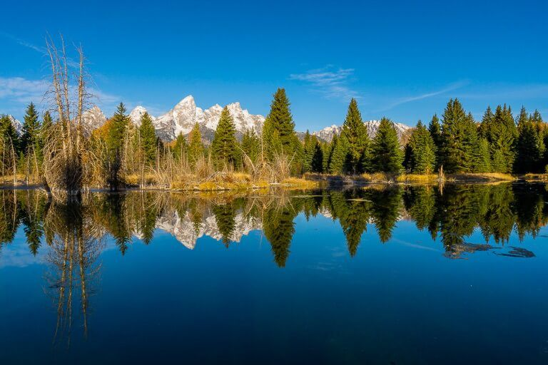Schwabacher Landing stunning photography location for sunrise at Grand Teton national park inwyoming mountains and trees reflecting