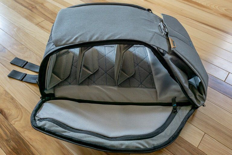 Peak Design camera backpack opened up with 3 removable dividers