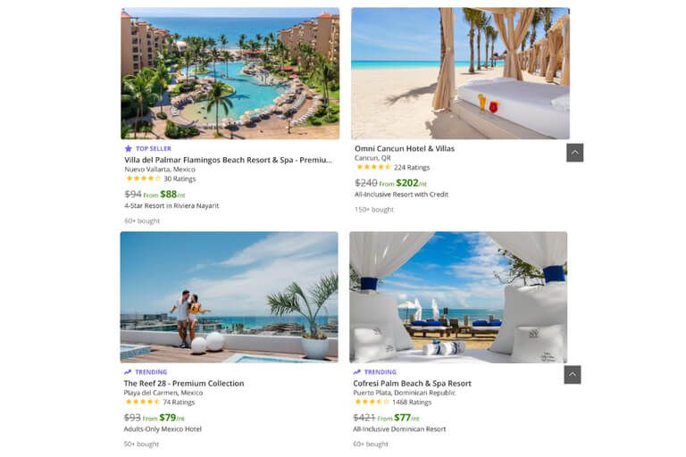 Groupon usually has good special deals for booking cheaper all inclusive hotels in resorts