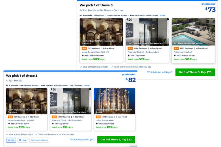 Priceline offers mystery deals at discounted rates which means you get higher quality for less