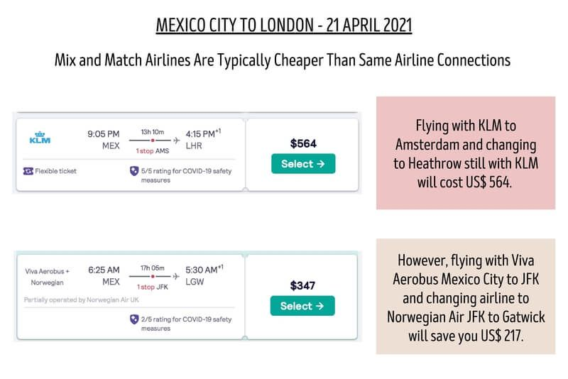 Airline mix and match will save a fortune when flying especially long haul