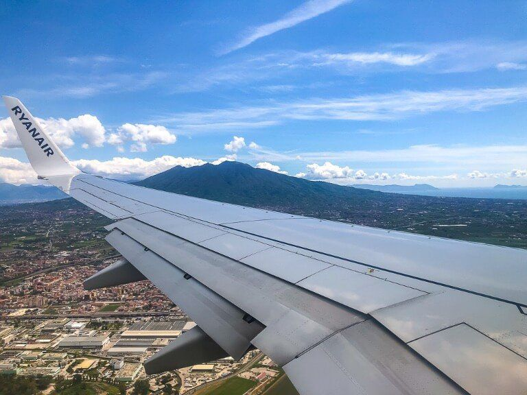 Plane Wing As Landing in Naples Italy
