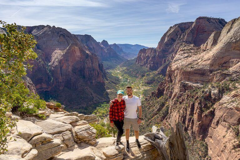 Mark and Kristen where are those morgans at the summit of Angels Landing hike in zion national park with incredible view behind