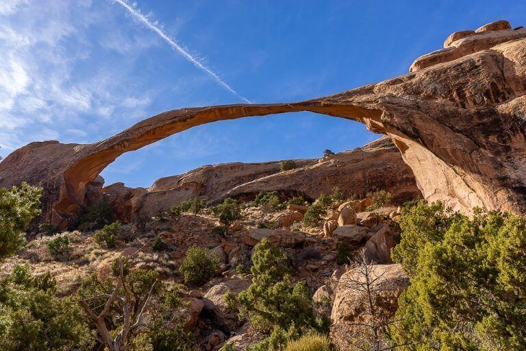 Landscape Arch is one of the most famous arched rocks in the world and can be seen on devil's garden trail at arches national park in utah