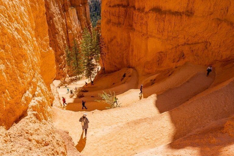 Navajo loop trail switchbacks in bryce canyon make for awesome photography opportunities but shadows are cast all day