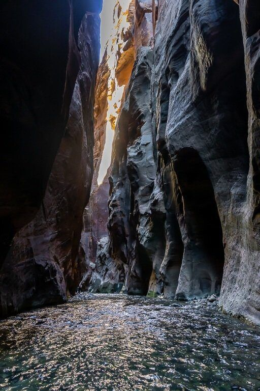Hiking up the virgin river through the narrows slot canyon trail in zion national park utah