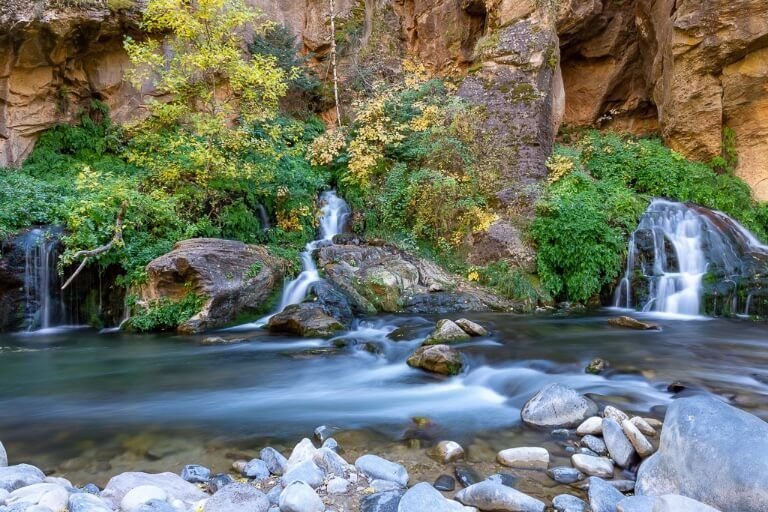 Big Spring is the end of the narrows hiking trail in zion national park you will know you are there when you see 3 small waterfalls