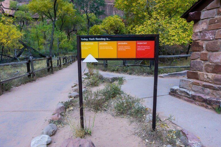 Flash flood sign from expected to not expected warning tourists of dangers in utah
