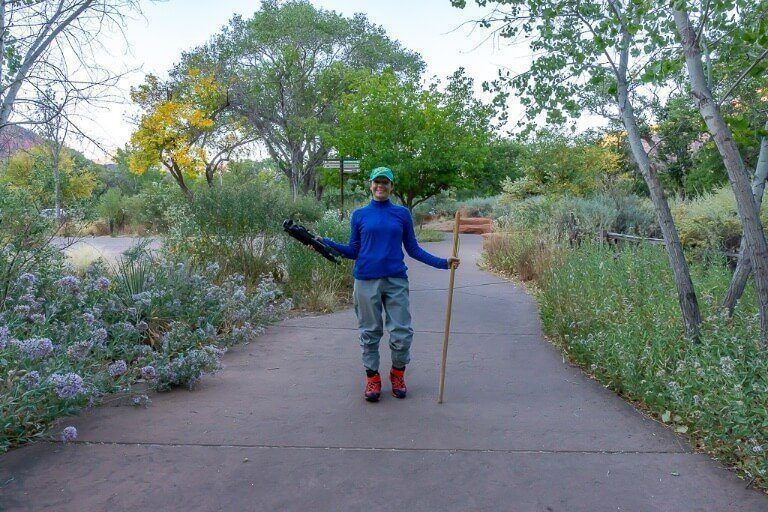 Where are those morgans wearing dry pants package from zion outfitter with walking pole early morning before hiking the narrows