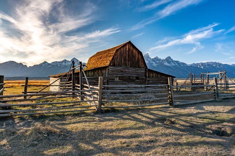 John Moulton barn close up on mormon row in grand teton national park wyoming