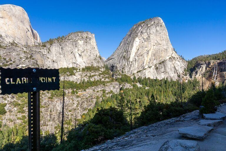 View from clark point looking back over john muir and mist trails at yosemite national park