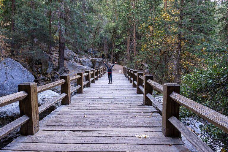 Kristen crossing Vernal Bridge