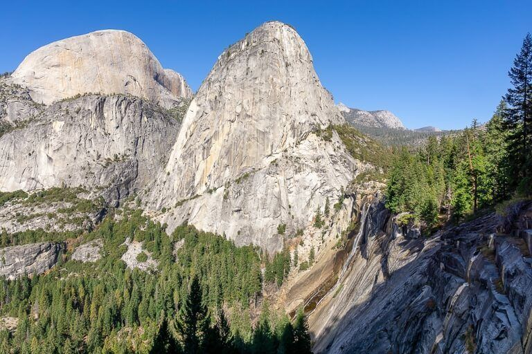 Amazing view from john muir trail with liberty cap and the back of half dome