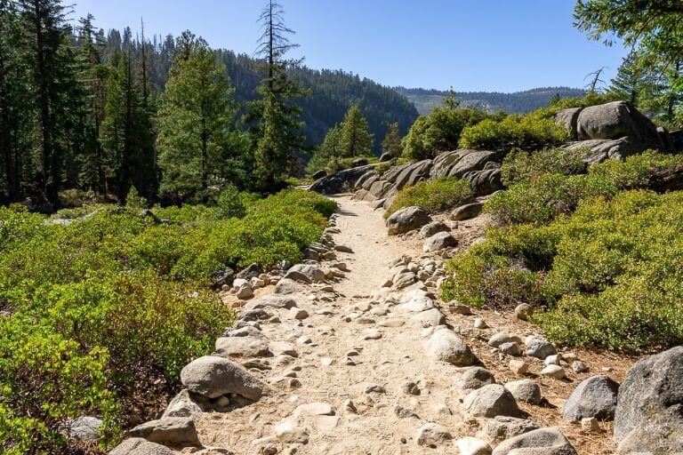 Summit path leading from mist trail to john muir trail