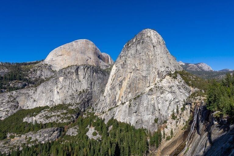 Liberty Cap and Half Dome in the background with Nevada Falls to the right