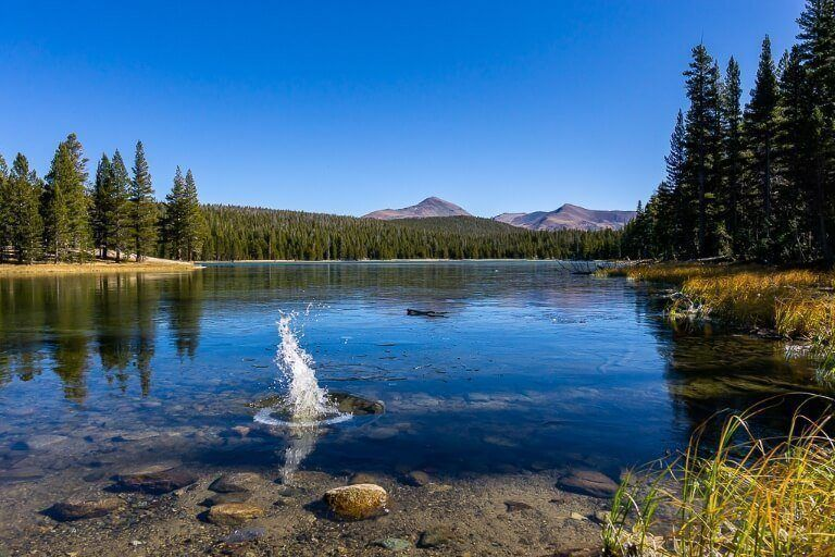 Rock landing in frozen lake surrounded by trees and granite domes in california