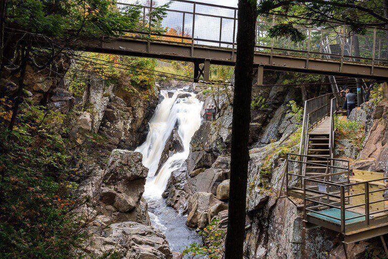 Boardwalks and bridges over waterfalls in ausable river adirondacks ny high falls gorge near lake placid