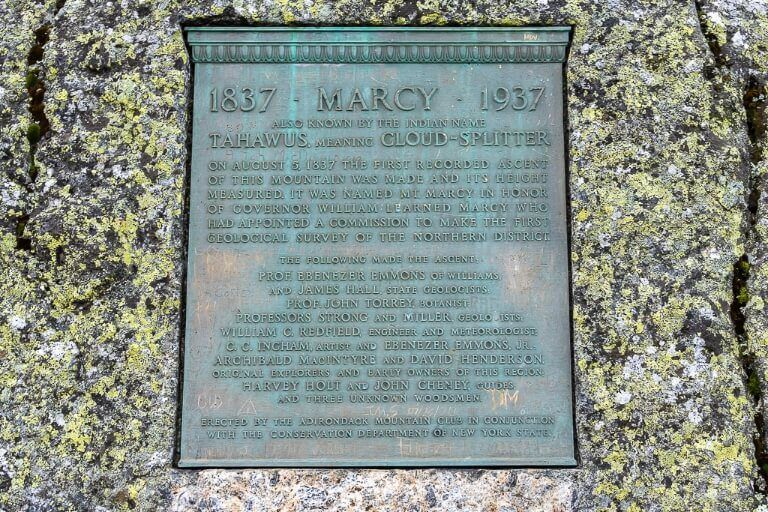 Plaque of mount marcy showing history first climbers year first climbed at the summit of adirondacks highest mountain