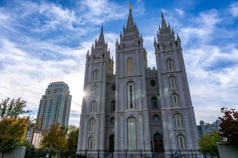 Salt Lake City Temple Square stunning church and starburst of the sun before setting off on a yellowstone road trip