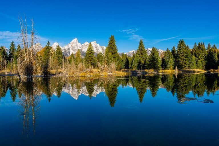 Schwabacher Landing is the iconic stunning grand teton national park sunrise photography location with trees and mountains reflecting in the snake river incredible symmetry