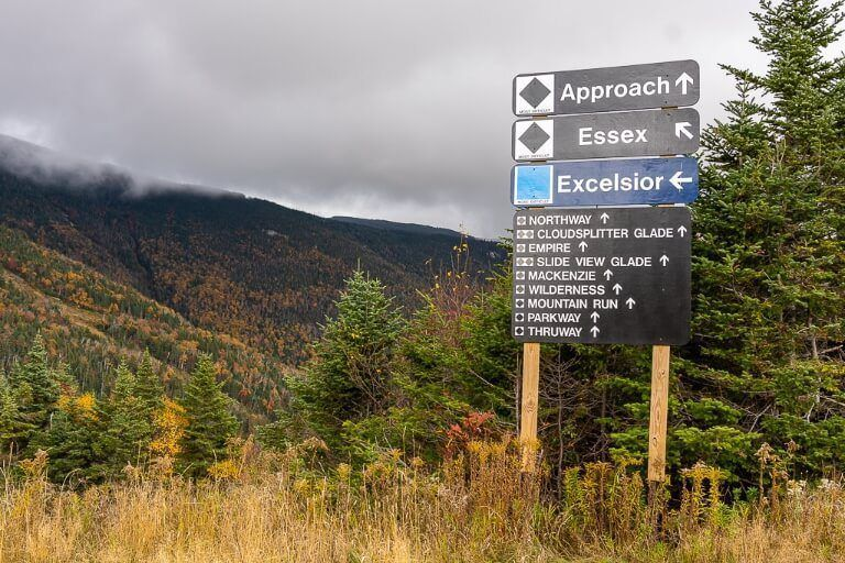Ski run names on a sign in fall just before snowfall in adirondacks whiteface mountain ny