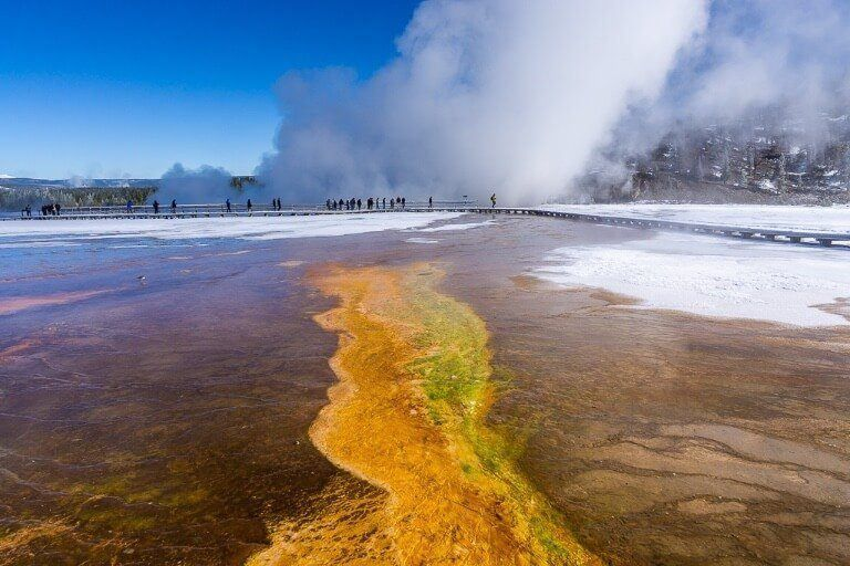 Grand Prismatic Spring in October is still vibrant and colorful but not nearly as much as in summer